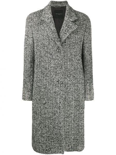 С рукавами шерстяное черное длинное пальто Ermanno Scervino