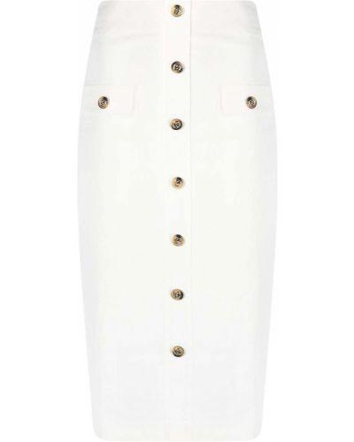 Biała spódnica ołówkowa z wysokim stanem z wiskozy Pinko
