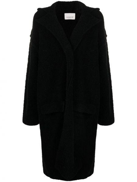 Однобортное черное пальто классическое Laneus