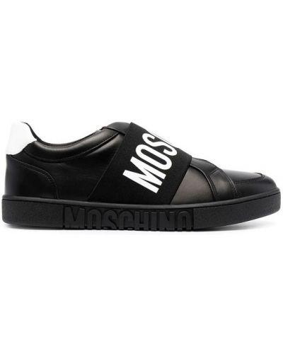 Czarne sneakersy skorzane płaska podeszwa Moschino