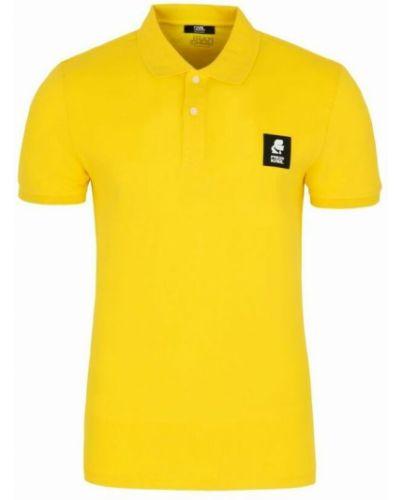 T-shirt bawełniana - żółta Karl Lagerfeld