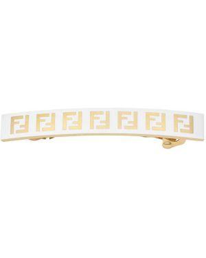 Złote klipsy - białe Fendi