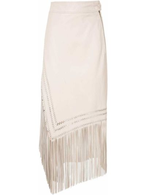 Прямая юбка миди с бахромой с поясом НК