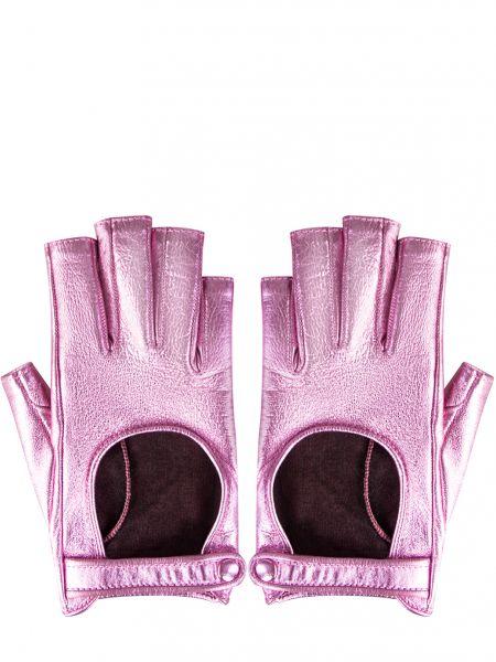 Розовые шелковые кожаные перчатки с декоративной отделкой Gucci