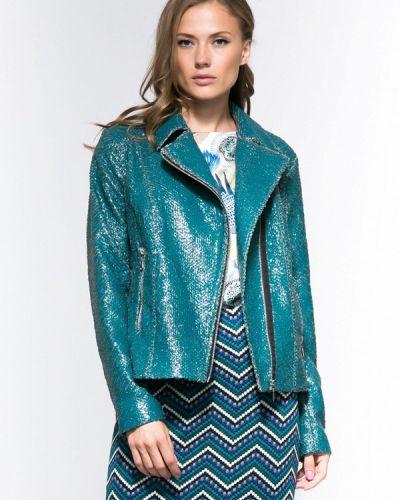Кожаная куртка осенняя бирюзовый Yulia'sway