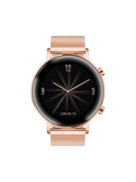 Złoty zegarek - różowy Huawei