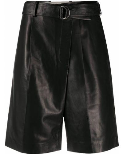 Черные с завышенной талией кожаные шорты Helmut Lang