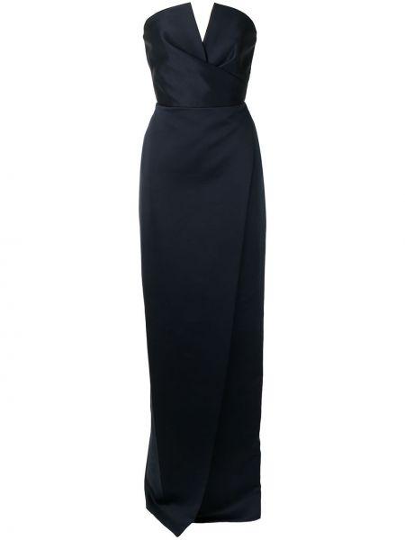 Хлопковое синее вечернее платье с запахом Jay Godfrey
