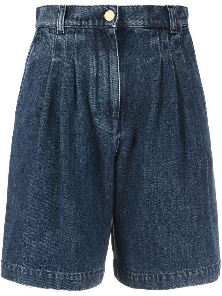 Хлопковые с завышенной талией джинсовые шорты с карманами Alberta Ferretti