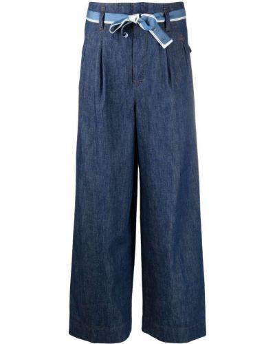 Синие укороченные джинсы с высокой посадкой с карманами Incotex
