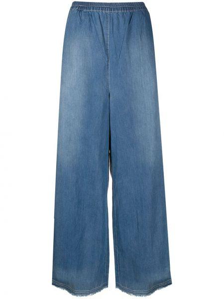 Хлопковые синие расклешенные свободные брюки с поясом Rundholz