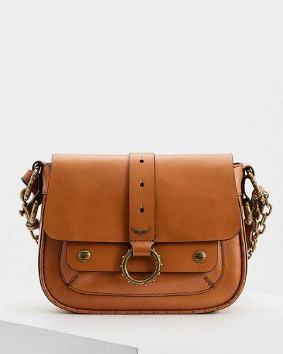 Кожаная сумка через плечо - бежевая Zadig & Voltaire