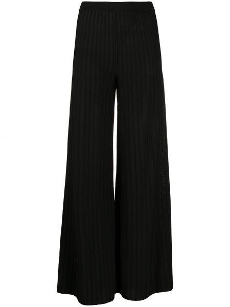 Черные свободные брюки в рубчик с поясом свободного кроя Mrz