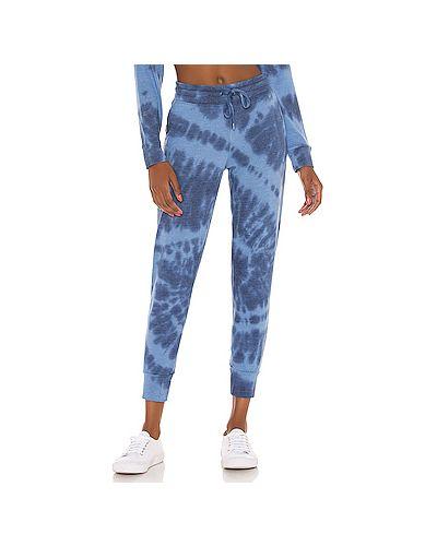 С кулиской синие шелковые брюки с карманами Splendid