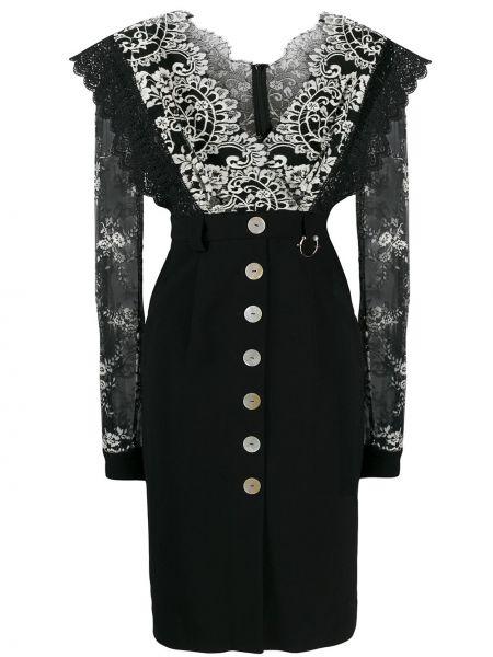 Платье с V-образным вырезом ажурное Three Floor