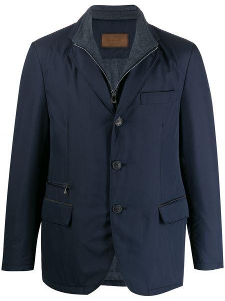 С рукавами синий удлиненный пиджак с карманами Corneliani