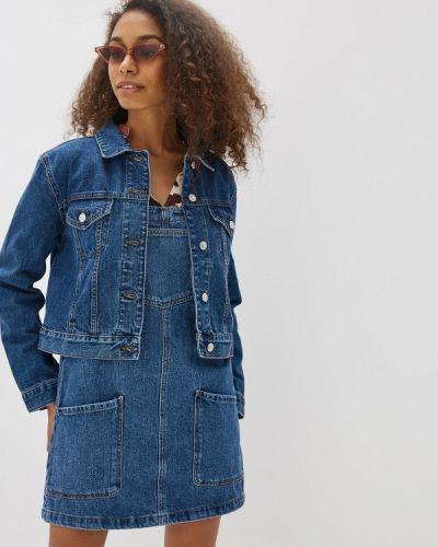 Джинсовая куртка осенняя синий Mango