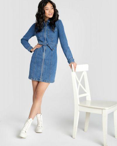 С рукавами синее платье мини с поясом Ostin