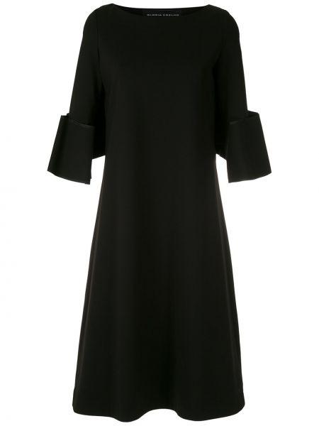 С рукавами черное платье миди с вырезом из вискозы Gloria Coelho