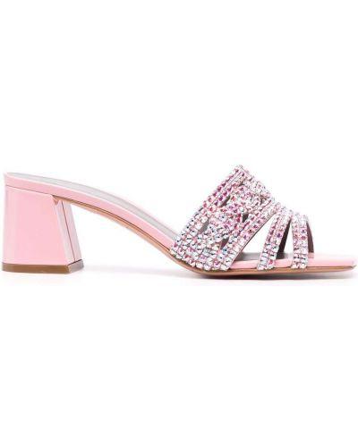 Мюли на каблуке - розовые Gina