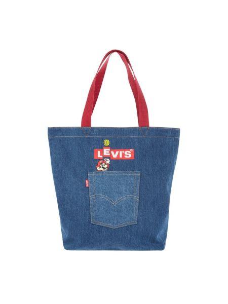 Niebieska torebka materiałowa z printem Levi's