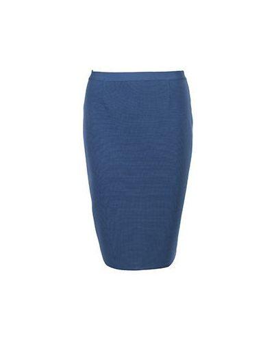Шерстяная синяя юбка карандаш Luisa Spagnoli