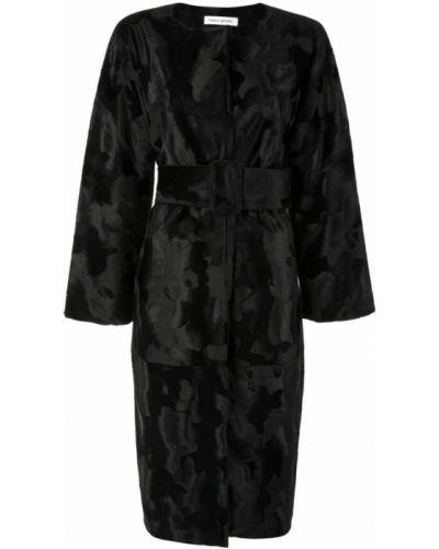 Черное длинное пальто с капюшоном Bianca Spender