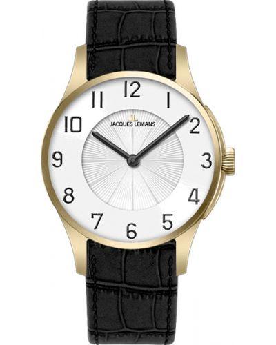 Часы на кожаном ремешке кварцевые водонепроницаемые Jacques Lemans