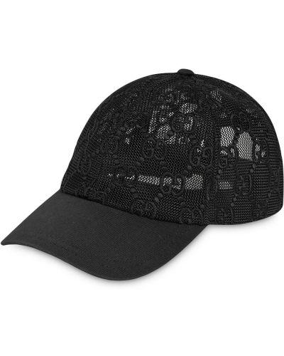 Czarna czapka z siateczką bawełniana Gucci