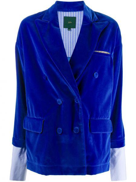 Бархатный синий удлиненный пиджак двубортный Jejia
