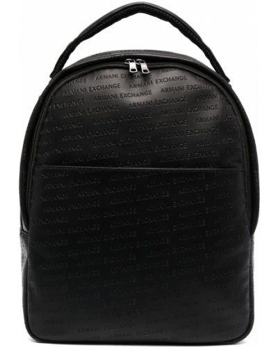 Черная сумка на молнии с карманами Armani Exchange