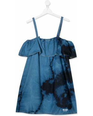 Dżinsowa sukienka z falbankami haftowana Msgm Kids