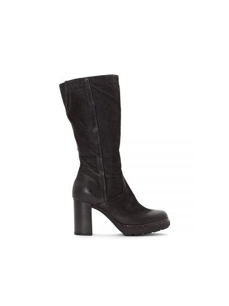 Черные ботинки на каблуке на каблуке круглые свободного кроя Mjus