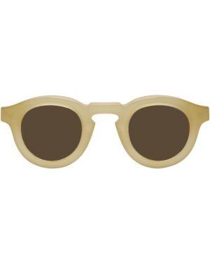 Бежевые солнцезащитные очки круглые с завязками прозрачные Thierry Lasry