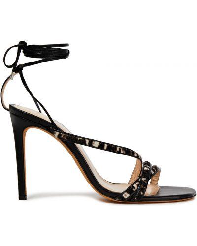 Czarne sandały skorzane z printem Iro