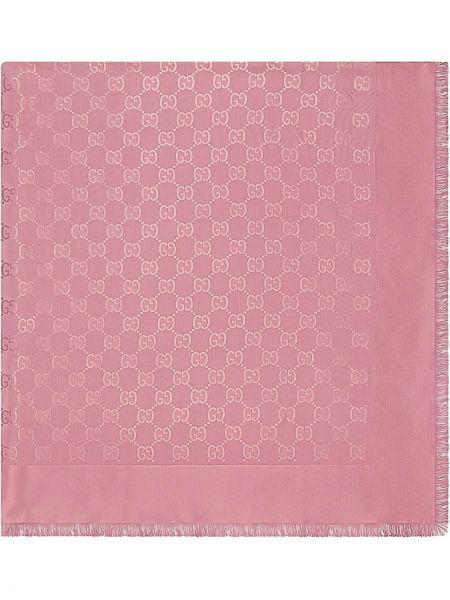 Różowy szalik bawełniany z printem Gucci