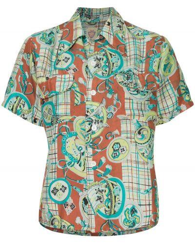 Рубашка с коротким рукавом винтажная на пуговицах с лебяжьим пухом Fake Alpha Vintage