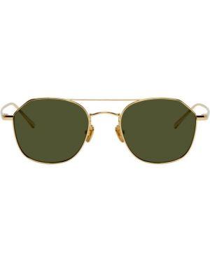 Солнцезащитные очки круглые желтый Linda Farrow Luxe