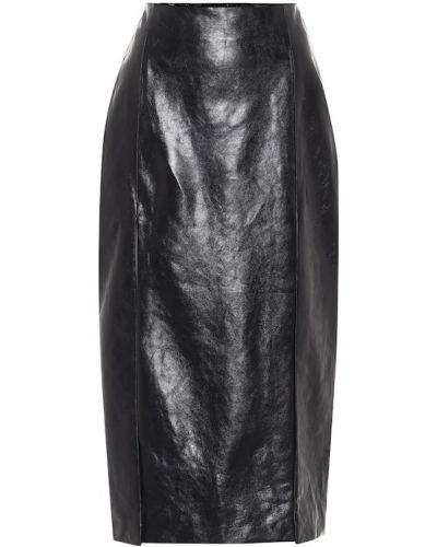 Черная юбка карандаш винтажная из натуральной кожи Gucci