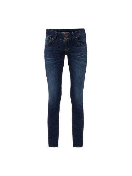 Niebieskie jeansy zapinane na guziki bawełniane Ltb