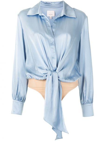 Шелковая синяя классическая рубашка с воротником на пуговицах Cinq À Sept