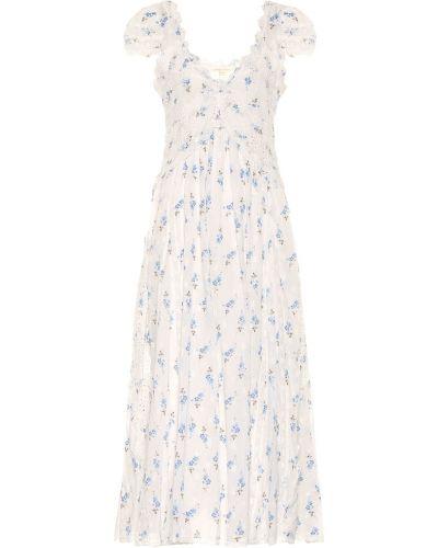 Ватное хлопковое белое платье макси Loveshackfancy