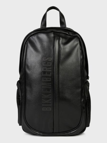 Черный кожаный рюкзак на молнии Bikkembergs