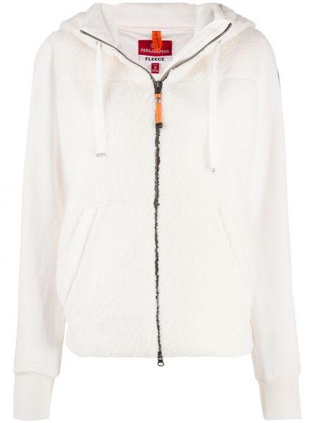 Белая классическая куртка с капюшоном на молнии в рубчик Parajumpers