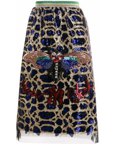 Синяя юбка миди с вышивкой на резинке в рубчик 5 Progress