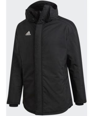 Футбольная спортивная черная куртка с воротником Adidas