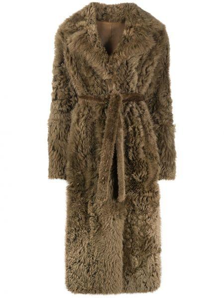 Коралловое длинное пальто с поясом с лацканами из овчины Liska