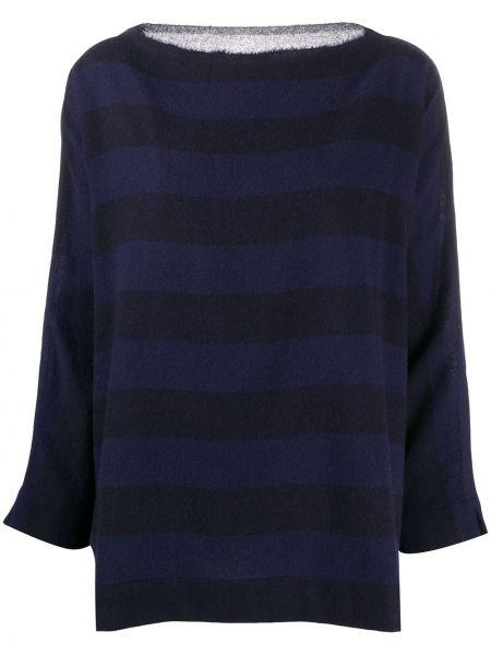 С рукавами кашемировый синий свитер с вырезом Daniela Gregis