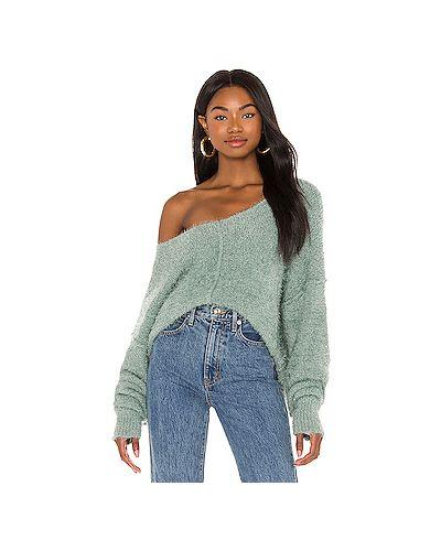 Акриловый серый вязаный свитер Free People