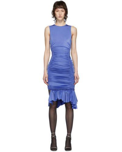 Сатиновое платье с воротником без рукавов с оборками Mugler